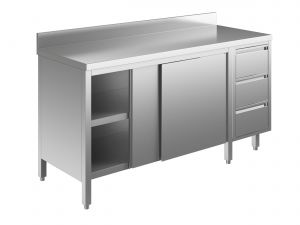 EU04003-20 tavolo armadio ECO cm 200x60x85h  piano alzatina - porte scorr - cass 3c dx