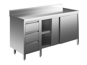 EU04004-18 tavolo armadio ECO cm 180x60x85h  piano alzatina - porte scorr - cass 3c sx
