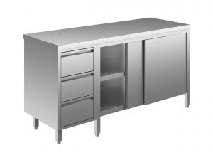 EU04102-20 tavolo armadio ECO cm 200x70x85h  piano liscio - porte scorr - cass 3c sx
