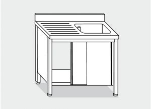 LT1033 Gabinete de lavado en acero inoxidable