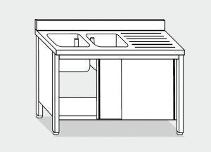 LT1041 Lavatoio su Armadio in acciaio inox 2 vasche 1 sgocciolatoio dx alzatina 160x70x85