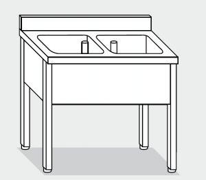 LT1069 Lavatoio su Gambe in acciaio inox 2 vasche alzatina 130x60x85