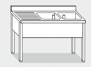 LT1107 Lavatoio su Gambe in acciaio inox 2 vasche 1 sgocciolatoio sx alzatina 140x70x85
