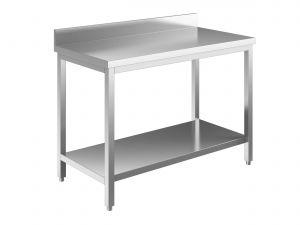 EUG2316-14 tavolo su gambe ECO cm 140x60x85h-piano con alzatina - ripiano inferiore