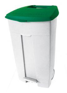 T102538 Mobile plastic pedal bin White - green 120 liters