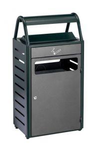T103016 Corbeille avec cendrier vert/silver extérieur 50+8 litres