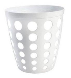 T906400 Corbeille à papier perforée en plastique blanc 12 litres