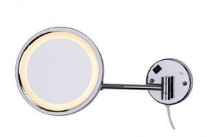 T105119 Specchio ingranditore con lente 3x con luce a led acciaio inox AISI 304 brillante
