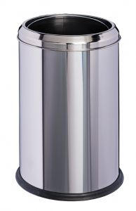 T906701 Corbeille à papier cylindrique acier inoxydable 8 litres