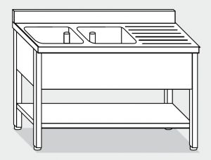 LT1135 Wash legs with stainless steel shelf