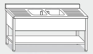 LT1144 Lavatoio su Gambe con ripiano in acciaio inox 2 vasche 2 sgocciolatoi alzatina ripiano 200x60x85