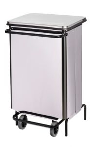 T790640 Contenitore mobile inox a pedale con apertura a libro 70 litri