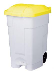 T102546 Mobile plastic pedal bin White Yellow 70 liters