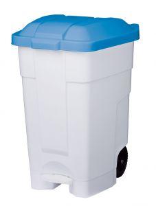 T102545 Mobile plastic pedal bin White Blue 70 liters