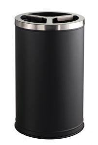 T790830 Corbeille 3 compartiments métal noir couvercle inox 3x35 litres