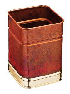 T700108 Papelera cuadrada de cobre con bordes laton 13 litros