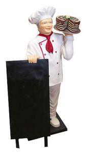 ER005A Cuoco con torta tridimensionale alto 140 cm