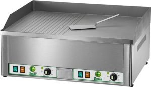 FRY2LRC Electric Fry top double smooth/ribbed chromed steel surface 6000W three-phase