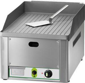 FRY1RMC Fry top a gas individual placa de acero cromado rayado