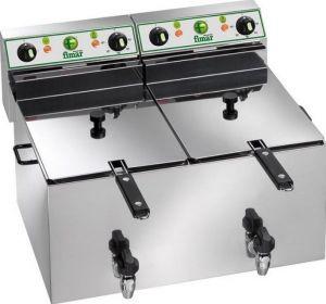FR1010R Friteuse electrique cuve double 10+10 liters avec robinets 6 kW triphasé