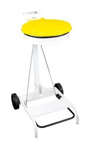 T601044 White steel Wheeled pedal operated sack holder Yellow lid