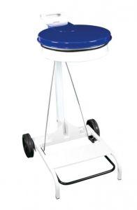 T601045 Chariot porte sac poubelle acier blanc et couvercle bleu