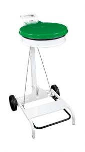 T601048 Chariot porte sac poubelle acier blanc et couvercle vert
