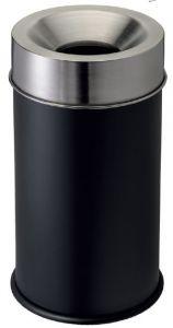 T770051 Fireproof paper bin Black stell body and s.steel lid 50 liters