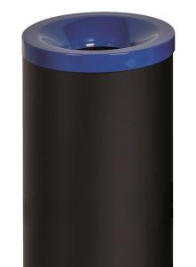 T770015 Fireproof paper bin Black steel with blue lid 50 liters