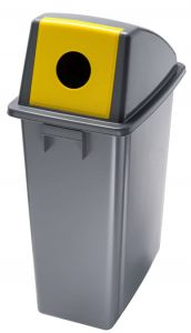 T114216 Waste bin with yellow front opening lid