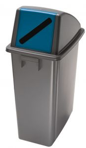 T114215 Waste bin with blue front opening lid