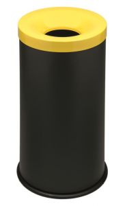 T770016 Gettacarte antifuoco corpo metallo nero coperchio Giallo 50 litri