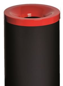 T770027 Fireproof paper bin Black steel with yellow colored lid 90 liters