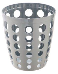 T906402 Papelera perforada en polipropileno gris 12 litros