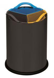 T110561 Black steel Recycling bin with three polypropylene inner buckets 3x4 liters