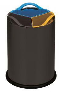 T110561 Papelera selectiva triple metal negro con 3 cubos de polipropileno 3x4 litros