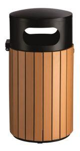 T110506 Outdoor Litter bin Black steel/brown polystyrene 40 liters