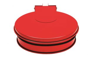 T601015  Bag holder with lid Red steel