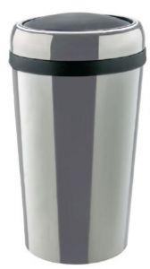 T109777 Poubelle cylindrique en acier inox avec couvercle basculant ABS 50 litres