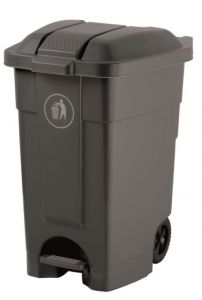 T102031 Mobile plastic pedal bin Grey 70 liters (Pack of 3 pieces)
