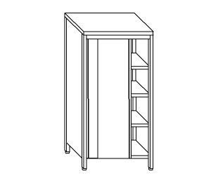 AN6011 neutral stainless steel cabinet with sliding doors