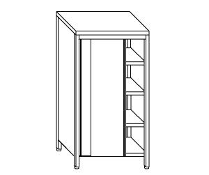 AN6018 neutral stainless steel cabinet with sliding doors