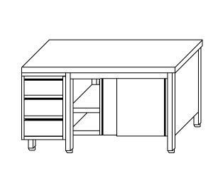 TA4026 Tavolo armadio in acciaio inox con porte su un lato e cassettiera SX  150x60x85