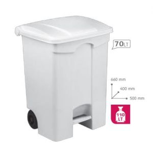 T115570 Mobile plastic pedal bin White 70 liters (Pack of 3 pieces)