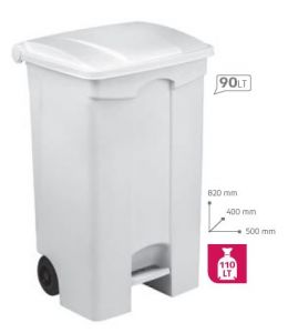 T115090 Mobile plastic pedal bin White 90 liters (Pack of 3 pieces)