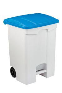 T115575 Contenitore mobile a pedale in plastica bianco coperchio blu 70 litri