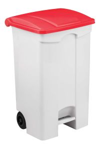 T115597 Mobile plastic pedal bin White 90 liters Red lid