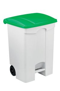 T115578 Contenitore mobile a pedale in plastica bianco coperchio verde 70 litri