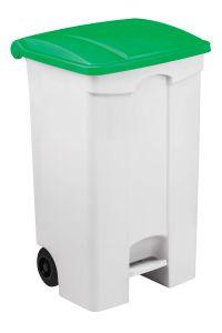 T115598 Mobile plastic pedal bin White 90 Green lid