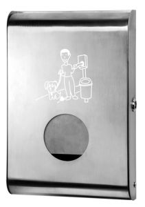 T103070 Brushed stainless steel Dog waste bags dispenser
